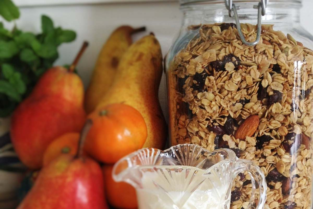 Homemade almond maple granola