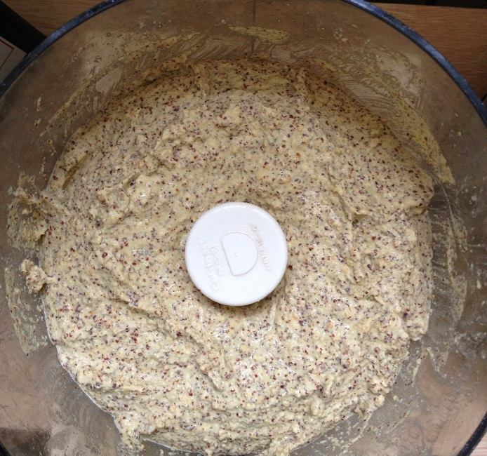 The soaked seeds quickly turning to grainy mustard in the food processor