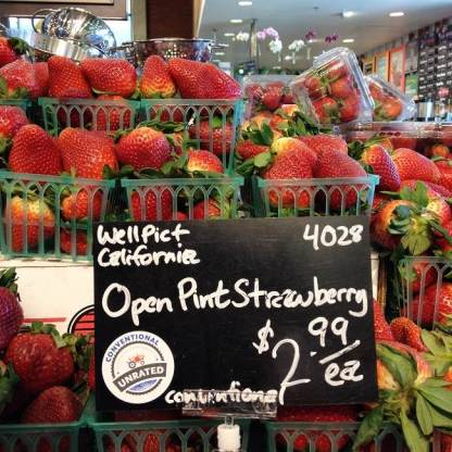 Conventional strawberries still come in plastic, but much less of it
