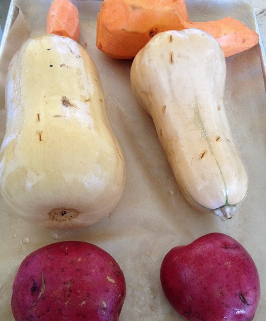 Roasting butternut squash, yams and potatoes on the weekend for quick meals throughout the week