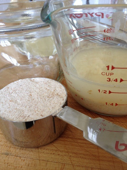 To the 1/4 cup starter, we added 1/4 cup flour and 1/4 cup filtered water