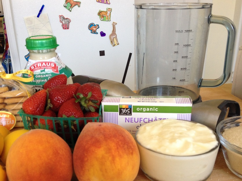 Gathering ingredients and equipment for the strawberry ice cream parfait--In the end I didn't use the peaches