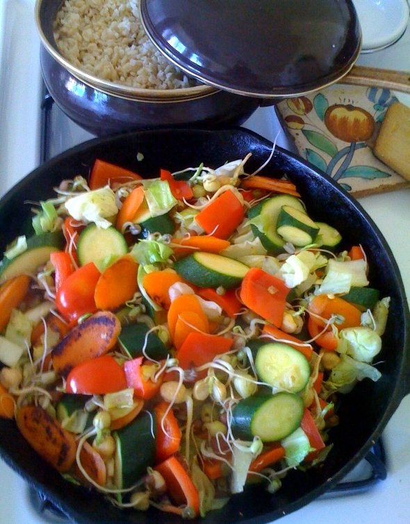 Veggie skillet with rice