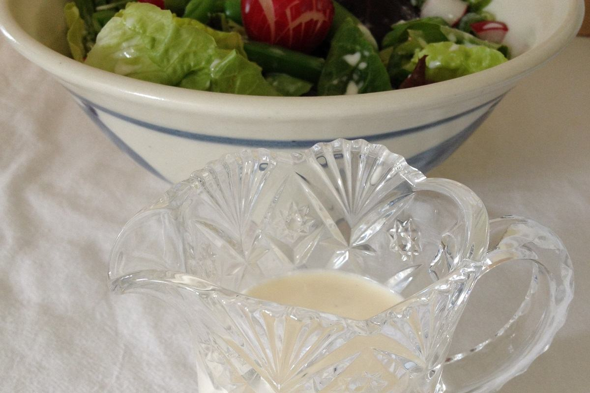 Great Grannie's milky vinegar and sugar dressing over a spring garden salad