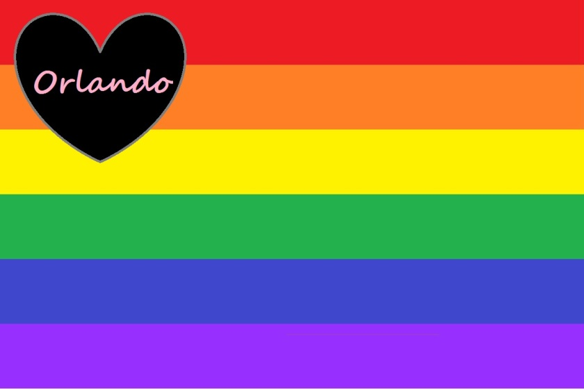 "The Gay Pride flag, overlaid with a heart of love in the mourning colors of black and gray, with the word ""Orlando"" in pink in memory of the shooting victims there and all victims within the pink triangle of hatred for LGBTQ people"