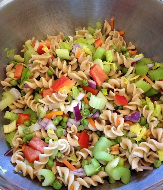 Pasta salad, ready to toss with the dressing