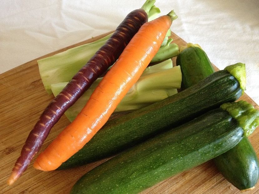 Broccoli stems, colorful carrots and zucchini, all make terrific julienne fodder
