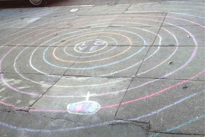 Child's sidewalk version of a labyrinth with LOVE at the center