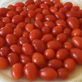 Step 1: Place the cherry tomatoes in a single layer on an upside-down plate