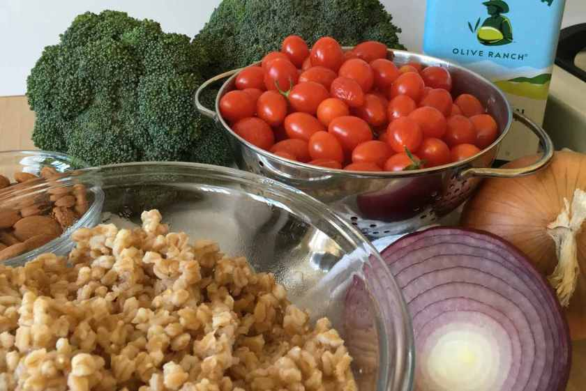 Fresh vegetables, olive oil, leftover ferro and almonds for a quick veggie stir-fry