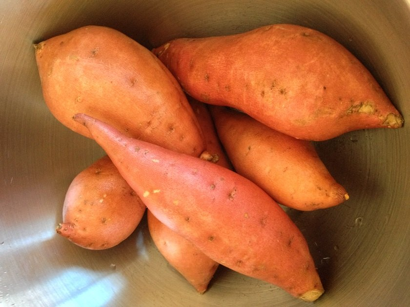Scrubbed yams, ready to peel and chunk
