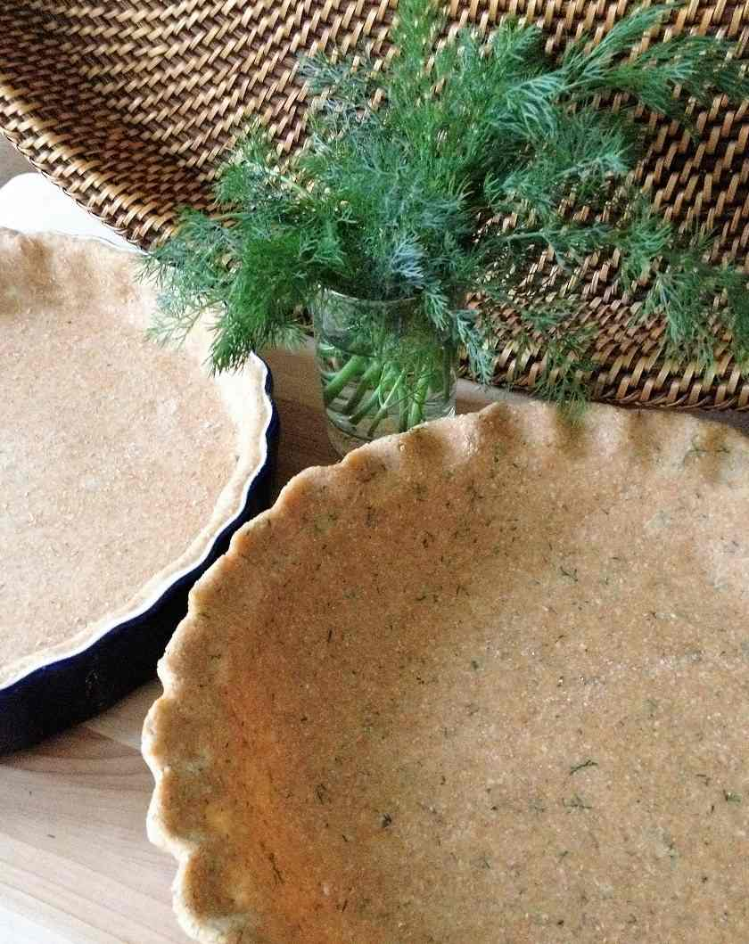 Dill-infused whole wheat quiche crust