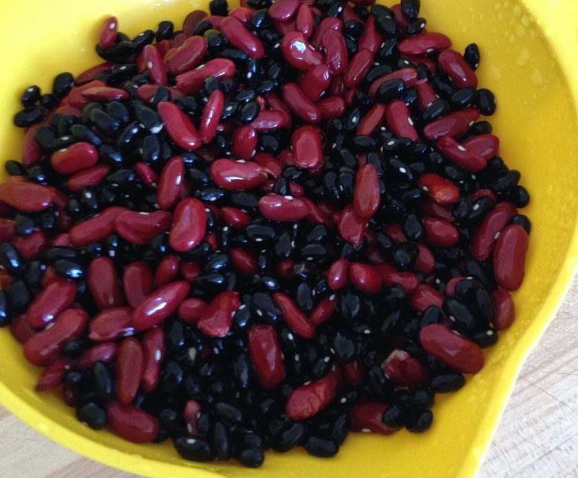 Kidney beans with black beans, prepped and ready to cook for a cold-day chili